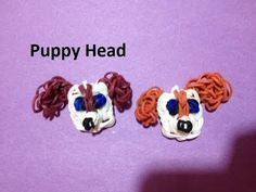 Rainbow Loom PUPPY FACE Charm. Designed and loomed by Emily Hill. Click photo for YouTube tutorial. 02/26/14.