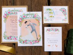 painted wedding invitation