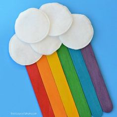 Hope you are having a bright and colorful day When I saw these colorful craft sticks from craftprojectideas I knew a rainbow was in our future We glued them together using a piece of cardstock for our backing and added cotton rounds for clouds Great for Spring or St Patricks Day cpicraftmonth Link in profile for further details
