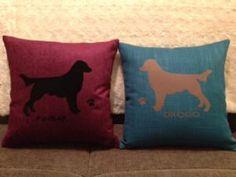 Personalised Flat Coat Retriever Dog Cushion.