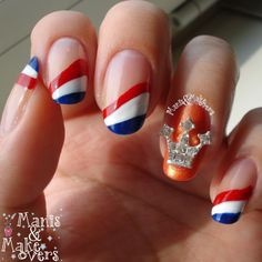 Manis & Makeovers: The King's Day (Koningsdag) - Fashion & Makeup - Nail Art Diy, Diy Nails, Cute Nails, Manicure, Shellac, Soccer Nails, Flag Nails, Nagel Blog, Kings Day