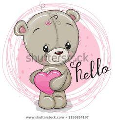 Cute Teddy Bear girl with heart. Cute Cartoon Teddy Bear girl with heart stock illustration Tatty Teddy, Girl Cartoon, Cute Cartoon, Cartoon Heart, Cute Images, Cute Pictures, Cartoon Mignon, Teddy Bear Drawing, Disney Cartoon Characters