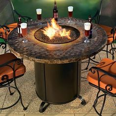 Contessa Round Outdoor Fire Pit Table   -firepit in winter -ice bucket in summer
