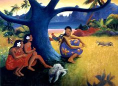 The Polynesian themed room could not be complete without one of Gauguin's prints like this one.