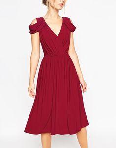ASOS | ASOS WEDDING Drape Cold Shoulder Midi Dress at ASOS