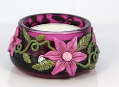 Candle Holder -burgandy with pink flowers via Etsy