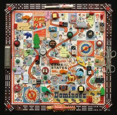 Child's Play Assemblage Wall Art of Vintage Gameboard by SouleArt, $425.00