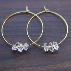 Herkimer Diamond Gold Hoop Earrings by friedasophie on Etsy