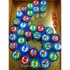 Pj Mask Cupcakes, Cupcakes For Boys, 5th Birthday Party Ideas, Boy Birthday Parties, 4th Birthday, Pj Masks Birthday Cake, Birthday Cupcakes, Pull Apart Cupcake Cake, Cupcake Cakes