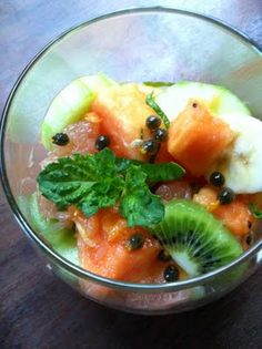 fruit salad with cucumbers and herbs