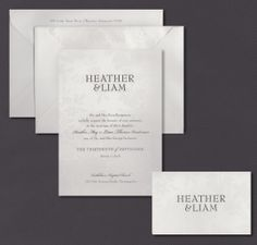 Our Bridal Damask invitation suite is shown here thermography printed in chocolate ink.