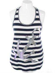 Plus Size Sexy Nautical Anchor Blue Tank, Plus Size Clothing, Club Wear, Dresses, Tops, Sexy Trendy Plus Size Women Clothes