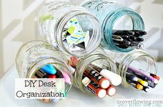 I have tons of mason jars and as I'm working on new storage solutions, a Mason Jar DIY Desk Organization seemed perfect {and ended up being super EASY, too}.
