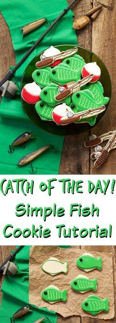 These Fishing Cookies will be the Catch of the Day with your Friends and Family- Sugar Cookies Decorated with Royal Icing www.thebearfootbaker.com