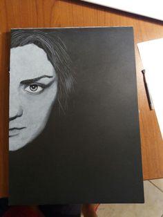Work in progress Arya Stark White pencil on black paper #pencildrawing #blackandwhite #drawing #portrait #aryastark