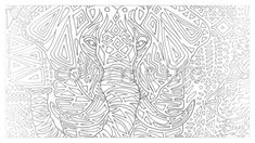 Coloring page for adults and kids. Printable coloring elephant. Art as therapy that helps protect wildlife.