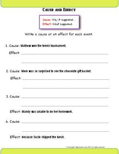 Worksheets for: Reading Comprehension. Printables for Second Grade English Language Arts students, teachers, and home schoolers. Second Grade Writing, Sentence Writing, Cause And Effect Worksheets, Free Reading Comprehension Worksheets, Tally Chart, Language Arts Worksheets, Parts Of A Book, Why Questions, Authors Purpose