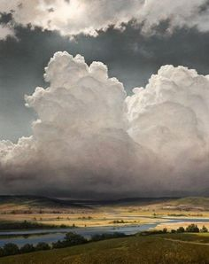 """Oil Painting """"Formations,"""" by Renato Muccillo. The clouds are so powerful and looming over the landscape threateningly Landscape Art, Landscape Paintings, Oil Paintings, Watercolor Landscape, Wow Art, Sky And Clouds, Thunder Clouds, Fine Art, Beautiful Sky"""