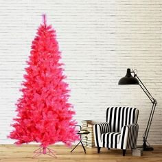 dd some personality to your holiday display with the 7.5' Clear Pre-Lit Pink Cashmere Artificial Christmas Tree. This tree will capture the attention of friends and family with its bright pink trim and 550 pre-attached clear lights to accentuate its natural flair. Put the finishing touches on this pink Christmas tree by hanging your favorite Christmas ornaments on the 1,171 branch tip. Set up your tree in minutes and secure it into the included plastic stand to give your living room a little…