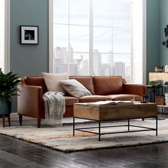 Image result for leather couch living room gray walls
