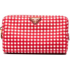 Prada Red gingham cotton pouch ($235) ❤ liked on Polyvore featuring red, red pouch, pouch purse, prada clutches, red clutches and pouch handbag