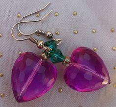 Pink Heart Earrings, Pink Earrings, Hand Beaded Heart Earrings with Swarovski Crystal Elements, Heart Earrings by RivieBoutique on Etsy