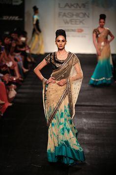 Vikram Phadnis Beige & Turquoise With Black Embroidered At Lakme Fashion Week Lakme Fashion Week, India Fashion, Asian Fashion, Indian Party Wear, Indian Wear, Indian Style, Indian Dresses, Indian Outfits, Desi Clothes