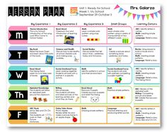 pre kindergarten lesson plan template