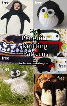 Knitting patterns for penguin toys, sweaters, blankets, hats, backpack, and more. Most are free patterns