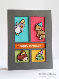 A Lawn Fawn Critters Birthday Card by Melania Deasy - i just like the multicolored windows cut into the gray card