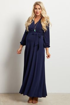 8c659fd21 Navy Blue Solid Sash Tie Long Sleeve Wrap Maternity Maxi Dress