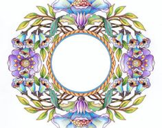 Cynthia Emerlye, Vermont artist and kirigami papercutter: Wreaths - The cover art to this adult coloring book Coloring Book Pages, Printable Coloring Pages, Colored Pencil Artwork, Arte Floral, Zentangle Patterns, Mandala Coloring, Pics Art, Mandala Art, Cover Art