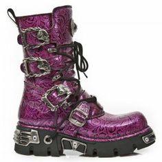 M.391-S10 New Rock Purple Floral Boots w/ Reactor Sole