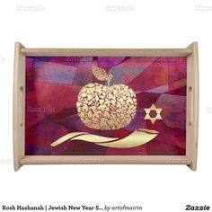 Golden Apple, Shofar and Star of David Design Jewish New Year | Rosh Hashanah Serving Tray. A great addition to your Rosh Hashanah Celebration Dinner. at zazzle.com