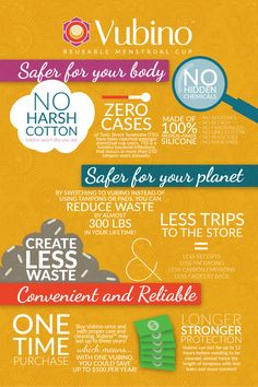 A nice little infographic sharing the benefits of Vubino reusable menstrual cup and the dangers of traditional disposable feminine hygiene products such as tampons and pads. Save money and your planet with Vubino.