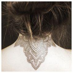 Mandala Back of Neck Tattoo.