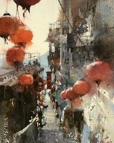 Watercolor workshop at Ichen Art Academy by world-renowned artist Chien Chung-Wei Urban Landscape, Landscape Art, Landscape Paintings, Watercolor Architecture, Watercolor Landscape, Abstract Watercolor, Painting Abstract, Abstract Portrait, Portrait Paintings