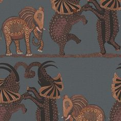 This beautifully patterned wallpaper features a trio of elephants dancing horizontally across the African Plains. Intricately rendered, they are taken from a series of large decorated urns painted
