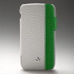 White & Vibrant Green Samsung leather case