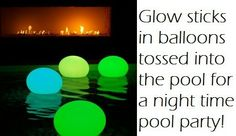 Diy-glow sticks in balloons to light up the pool! Mestel Duke this would have been a much easier clean up :) Fun! Glow Stick Party, Glow Sticks, Nifty Diy, Crafts For Kids, Diy Crafts, My Pool, Pool Fun, Cool Pools, Diy Projects To Try