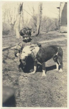 Vintage picture of a boy and his pet, Pitt.