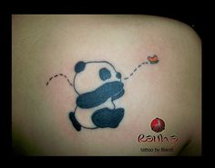 Panda chases butterfly