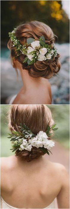 Greenery wedding hairstyle ideas / #wedding #weddingideas #weddinginspiration #deerpearlflowers #weddinghairstyles