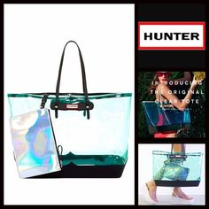 "HUNTER Original Large Clear Tote NEW WITH TAGS   HUNTER Original Large Clear Tote Shoulder Bag  * Exterior features a clear construction w/black trim  * Dual leather handles, clasp top closure  * Leather zippered pouch & dust bag  * Approx. 13.25""H x 21""W x 6.75""D  * Hunter logo;Silver-tone hardware   Material:PVC & leather exterior & lining, leather pouch Item:923900 Color:Clear Tourmaline Green & Black  No Trades Hunter Boots Bags Totes"