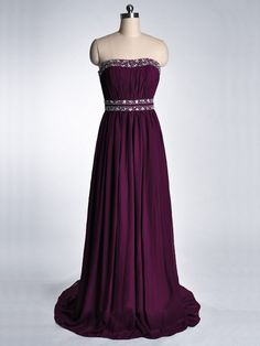 dark purple backless strapless long chiffon prom dress   Cheap prom dresses Sale