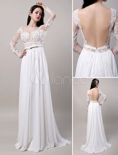 Boho Beach Sheer Lace Chiffon Tulle Long Sleeves Deep V Back Backless Bridal Gown - Milanoo.com