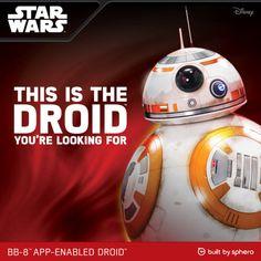 Star Wars BB-8 Droidi jota voi ohjata puhelimella tai tabletilla http://lahjaopas.info/lahjat/star-wars-bb-8-droidi/ #lahjaideat #starwars #robotti #teinille
