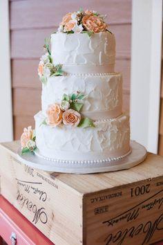 Simple Floral Wedding Cake