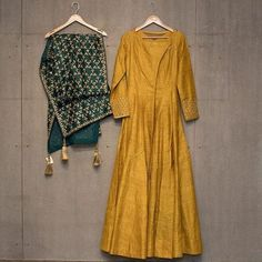 Matsya ~ Gold New collection Indian Gowns, Indian Attire, Indian Ethnic Wear, Pakistani Dresses, Indian Outfits, Indian Clothes, Kurti Designs Party Wear, Kurta Designs, Blouse Designs