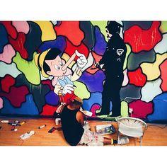 """Hard at work  Follow the artist:  @brainsandnoodles  #artbotic #artist #art # #pinocchio"" Photo taken by @artbotic on Instagram, pinned via the InstaPin iOS App! http://www.instapinapp.com (07/10/2015)"